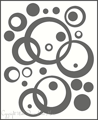 Wall Vinyl Sticker Decal Circles, Rings, Dots 25+pc 11in Large Home Décor - Storm Grey