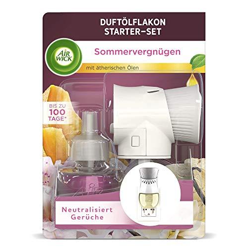 Air Wick Duftölflakon – Starter Set mit Duftstecker und Duftflakon für die Steckdose – Duft: Sommervergnügen – 1 x Gerät und 1 Nachfüller – Duftstecker in weiß