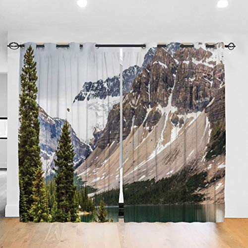 DmiGo Blackout Curtain,Alberta Rocks With Ranges Composed Of Shale Limestone Hill Places Photograph Print,Eyelet Thermal Insulated Curtain for Bedroom,2 Panel Set(260cmx210cm)