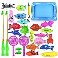 Materiale giocattolo da pesca: giocattolo da pesca, realizzato in materiale plastico e magnetico di alta qualità, non tossico, insapore, leggero, molto resistente. Giocattoli educativi: ci sono 28 pezzi di pesci diversi, aiuta il tuo bambino ad impar...