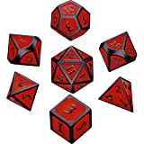 Hestya 7 Pieces Metal Dices Set DND Game Polyhedral Solid Metal D&D Dice Set with Storage Bag and Zinc Alloy with Enamel for Role Playing Game Dungeons and Dragons (Black Nickel red)