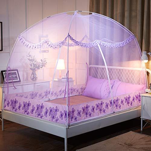 GLITZFAS Myggnät dubbelsäng myggnät insektsskydd flygggnät dubbelsäng myggnät säng (B-lila, 120 x 200 cm)