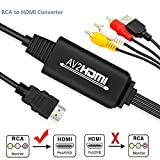 RCA to HDMI Converter - UBISHENG AV to HDMI Adapter, Mini AV 3RCA CVBS Composite to Audio Video Converter Supporting PAL NTSC 1080P for WII, WII U, PC Laptop, Xbox, PS3, PS4, TV STB, VHS VCR Camera DV