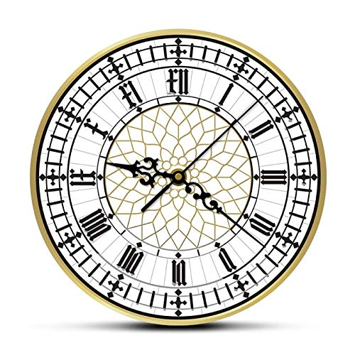 Reloj de Pared Reloj Big Ben Moderno contemporáneo Retro silencioso sin tictac Decoración del hogar en inglés Gran Bretaña Londres Regalo
