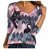 YANFANG Blusa Tops para Mujer Camiseta Hoodies Talla Grande de Manga Larga con estanmpado Suelta Tie-Dye Impreso Bordado Cuello para Invierno Casual
