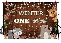 新しい7x5ft冬のワンダーランドウッドランド1歳の誕生日パーティーの写真の背景森の動物素朴な木材スノーフレークの背景装飾キラキラライトクリスマスフォトブース小道具バナー用品