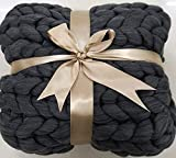 Hygge & Cwtch Chunky Knit Blanket Throw | Chunky Yarn Blanket Vegan Cable Knit Throw Blankets | Boho Accent Decor Neutral Home Farmhouse Modern Scandinavian (50' x 60', Graphite)
