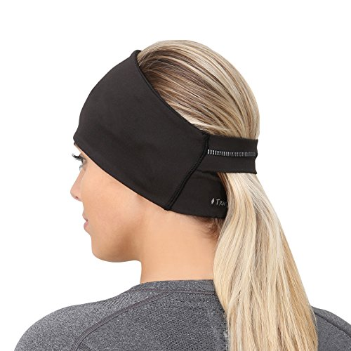 TrailHeads Ponytail Headband - Adrenaline Series | Women's Running Headband with Reflective Accents - Black