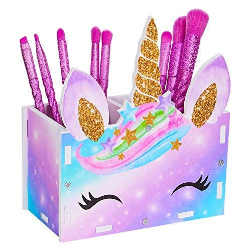 Basumee Unicorn Tisch Organizer Holz Schreibtisch Kinder Schreibtisch Tidy Makeup Brush Holder Organizer,Regenbogen Einhorn