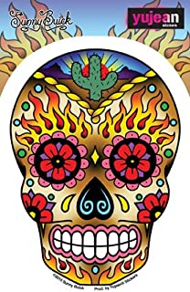 Sunny Buick, WESTERN SUGAR SKULL, In/Out Weather Protected, Extra Long Lasting Die-Cut Vinyl STICKER / DECAL - 3.75
