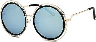 Fashion Men UV Protection Women's Sunglasses Stylish Metal Frame Big Round Sunglasses for Retro (Color : Ice Blue)