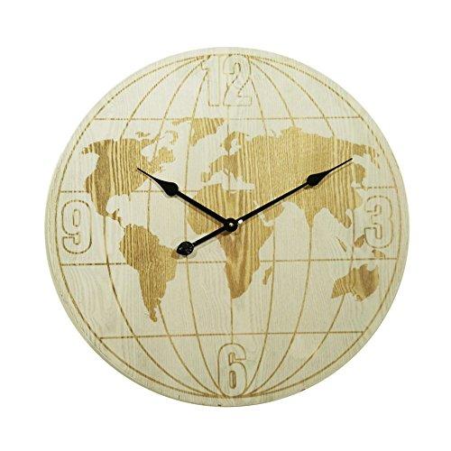 Rebecca Mobili Wandklok Horloges Globe Wit Hout Rond Diameter 60 cm - Ø 60 cm x P 4,5 cm (H x B x D) - Art. RE6153