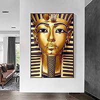 古代エジプトのファラオキャンバス絵画ポスターとプリントリビングルームの装飾のための黄金色の壁アート写真  50x80cmフレームなし