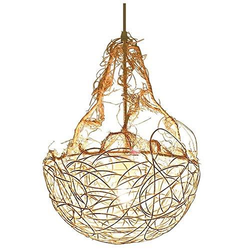 HSLJ1 China Techo jaula de pájaro de la lámpara, LED de tejido a mano la lámpara de mano de mimbre Rattan Hanging creativo rústico ligero de bambú de una sola cabeza Balcón linterna Suspensión