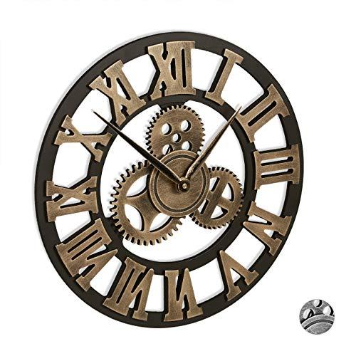 Relaxdays Wanduhr Zahnrad, ohne Tickgeräusche, römische Ziffern, Vintage, 3D, Zahnraduhr, Industrial, Ø 40 cm, gold
