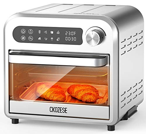 8-In-1 Small Stainless Steel Digital Toaster Oven Air Fryer, Dehydrator/Bake/Broil/Roast Function, 1250W&60 Min Timer, 11QT Compact Countertop Convection Oven with Touch Panel, 4 Accessories &Recipe