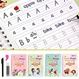4 PCS Magic Exercise Copybook for Kids - Reusable Writing Exercise Book Set, Number Tracing Book for Preschoolers with Pen, Age 3-5 Calligraphy Simple Hand Lettering
