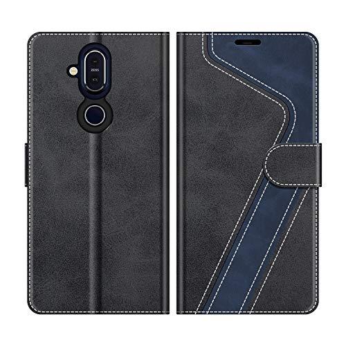 MOBESV Handyhülle für Nokia 8.1 Hülle Leder, Nokia 8.1 Klapphülle Handytasche Hülle für Nokia 8.1 Handy Hüllen, Modisch Schwarz