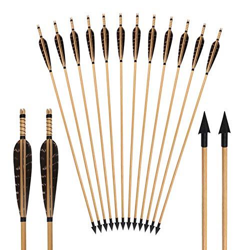 YC° Flechas Diana de Tiro con Arco, 12pack Flecha de Madera Tradicional con 5 '' Pluma Real para RECUPTAR Long Bows DE LA Caza TARGER PRÁCTICA