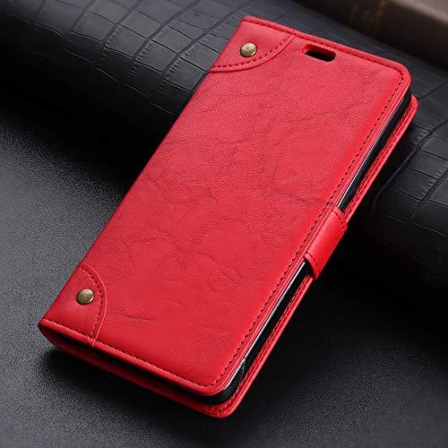 JUNXI Phone Funda de Cuero con Hebilla de Cobre Nappa Texture Horizontal Flip for Xiaomi Mi Mix 3 5G, con Soporte y Ranuras for Tarjetas y Billetera (Negro) Cómodo y Conveniente (Color : Red)