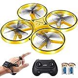 SGILE Drone RC avec LED, Quadricoptère Télécommandé avec 360° Flips, Montre Capteur de Gravité, Aéronefs avec Esquive d'Obstacle à Infrarouge, Jouet Cadeau pour Fille et Garçon (Jaune)