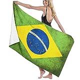XCNGG Bandera de Brasil Retro Toalla de baño Suave y súper Absorbente, Adecuada para Hotel, Piscina, Gimnasio, Playa, 32 x 52 Pulgadas
