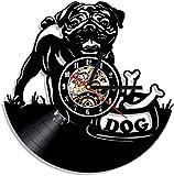 zhenao Reloj de Pared Pug Perro Reloj de Pared Retro Cachorro de Pared Arte de la Pared Decoración de la Pared Decoración de la Pared Reloj de Vinilo Reloj English Reloj Bulldog Clo