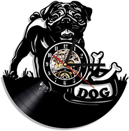 Gymqian Reloj de Pared Pug Perro Reloj de Pared Retro Cachorro de Pared Arte de la Pared Decoración de la Pared Decoración de la Pared Reloj de Vinilo Reloj English Reloj Bulldog Cl
