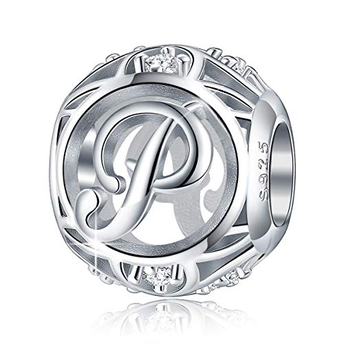 FOREVER QUEEN Letter Charm Initial A-Z Alphabet Charm Dangle Charm for Bracelet Necklace, 925 Sterling Silver CZ Beads Charm Personalized Jewelry Gift for Men Women Girls Birthday Valentine's Day (P)