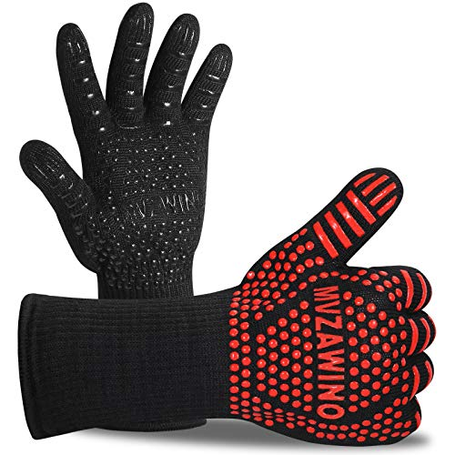 Premium BBQ Gloves 1472°F Extreme Heat Resistant Oven Gloves Grilling Gloves with Cut Resistant Durable Fireproof Kitchen Oven Mitts Designed for Cooking Grill Frying Baking Barbecue1 Pair