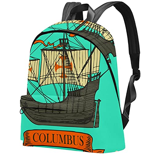 wuqiandian Zaini per donna Uomo Borsa da viaggio Zaino Columbus Retro Travel Adventure Sailing Ship Zaino College