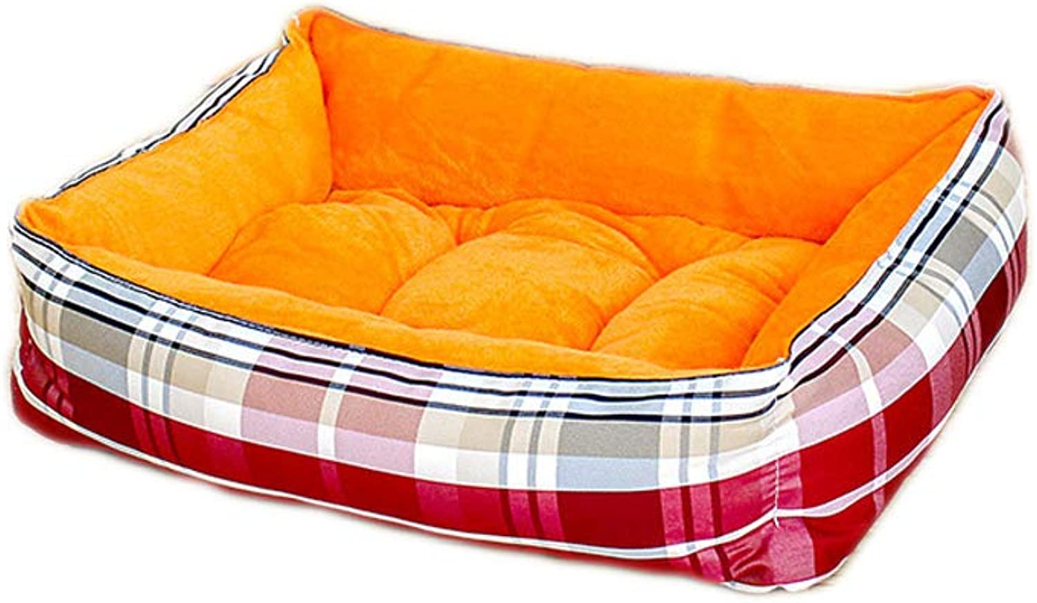 Four Season Universal Pet Mat, Elasticity Pp Filling Cotton Four Sides Uplifted, Independent Inner Cushion Summer Refreshing Warm Winter Comfortable,orange,M