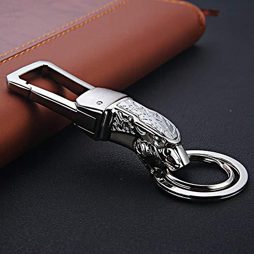 CHANGFUSHEN Cadena dominante del Coche Holder Cabeza del Leopardo Llavero Llavero Pantera Clave Soporte Auto Accesorios Clave (Color : Silver and Gift Box, Size : Gratis)
