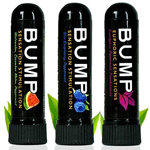 TN Scientific | Bump Aromatherapy Nasal Inhaler (3 Pack B) Essential Oils & Menthol - Watermelon, Cucumber Melon, Peppermint/Blue Raspberry, Peppermint/Eucalyptus, Peppermint, Frankincense New