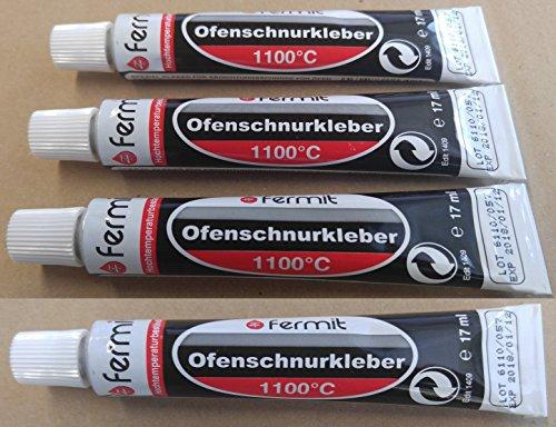 Dichtschnurkleber Ofenschnurkleber Hochtemperaturkleber Dichtung 1100°C Fermit 1 bis 5 Tuben 17 ml (4 Tuben 17 ml)