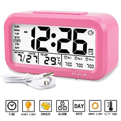 Despertador Reloj Aiduy multifuncional con pantalla grande de LED, muestra en pantalla temperatura, fecha, Luz de noche y carga por USB Para niños, Adultos, Hogar y Oficina (Rojo)