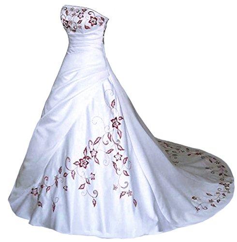 Vantexi Trägerlos Rot Stickerei Satin Hochzeitskleid Brautkleid Weiß Größe 52