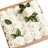 Ling's moment Artificial Flowers Ivory Roses 50pcs Real Looking Fake Roses w/Stem for DIY Wedding...