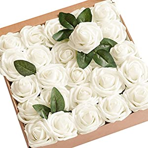 Artificial Flowers Ivory Roses 50pcs