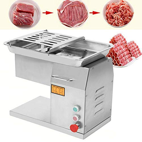 Yonntech Commercial Meat Cutting Machine Meat Slicer 1100LB Per Hour 550W Stainless Steel Fresh Meat Cutter Commercial Grade Restaurant Meat Processing Machine Electric Slicer 3mm Cutting Blade