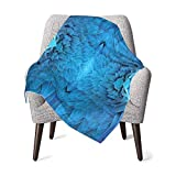 Baby Double Blanket Baby Quilt Feather House Decor Psychedelic Digital Close Set Of Macaw Bird Wing Feather In Symmetrical Axis Blue Baby Blanket,Baby Comfort Blanket