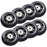 TOBWOLF 8 Pack 70mm 82A Indoor Inline Skate Replacement Wheels, Indoor Skating Wheels with Bearings, Luggage Wheels, Training Wheels for Scooter - Black