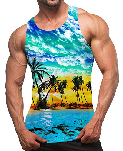 uideazone Uomo 3D Printed Canotta Summer Casual Maniche Graphic Tees Palestra Senza Maniche Tank Top T-Shirt Bodybuilding Sport Vest