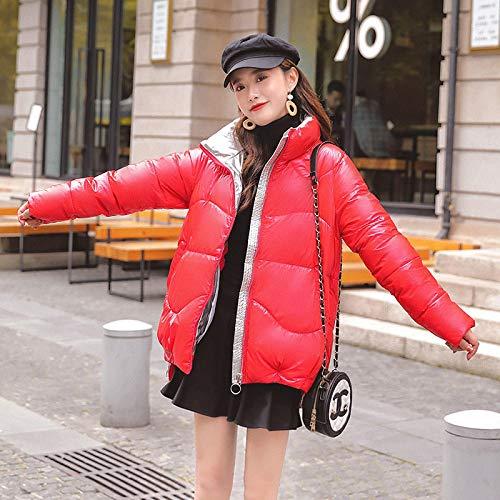Chaqueta de Plumas Nueva Parka De Cuello Alto Corto Chaqueta De Invierno Mujer Casual Grueso Cálido Parka Brillante Abrigo Femenino Outwear XL Rojo