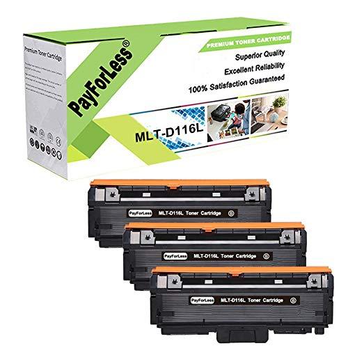PayForLess MLT-D116L D116L Toner Cartridge Black 3PK Replacement for Samsung Xpress SL-M2625 M2885FW M2825DW M2875FW M2625D M2875FD 2626 2825 2835 Printers
