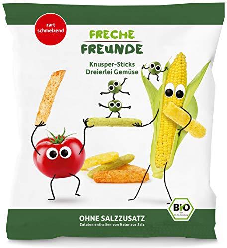 Freche Freunde Bio Knusper Sticks-Dreierlei Gemüse, Knabberzeug für Kinder & Babys ab 12 Monaten, ohne Salzzusatz, 8er Pack (8x 30 g)