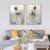 LGHLJ Bailarina de Ballet Cuadro en Lienzo Estilo nórdico Cuadros e Impresiones para niñas Imagen de Arte Mural Elegante para la decoración de la Pared de la Sala de Estar 40x60cmx2 Sin Marco