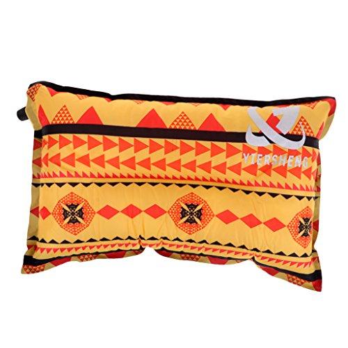 Perfeclan Reise Selbstaufblasendes Reisekissen Aufblasbar Sitzkissen Leicht Campingkissen Nackenkissen - orangefarbener Streifen
