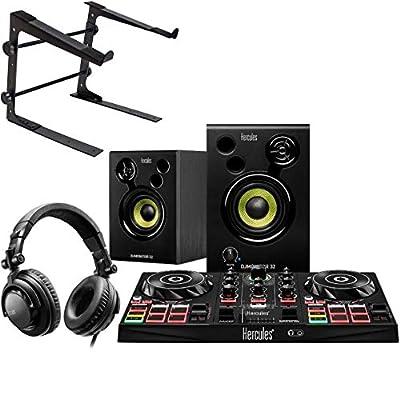 Hercules DJ Learning Kit Starter Set + Keepdrum Laptop Stand