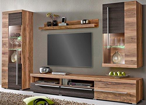 Moebelaktionsshop24 WOHNWAND 4-TLG Wohnzimmer Schrank Satin NUSSBAUM Darkwood WENGE MATT NEU 379591